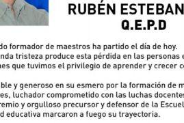 Rubén Esteban Díaz, el admirado profesor ha partido el día de hoy